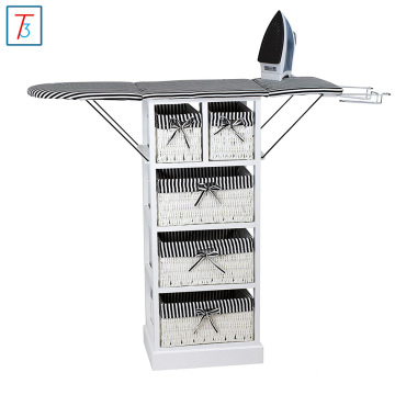 Wicker Iron Rack Wooden Wall Foldable Ironing Board In cabinet